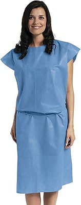 Medline Sleeveless Multi Layer Patient Gowns, Blue, Regular