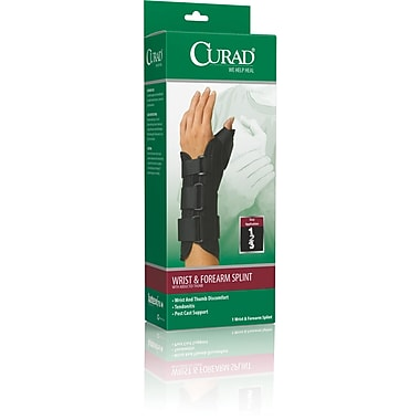 Curad® Wrist and Forearm Splints with Abducted Thumb, Medium, Left Hand, 4/Pack