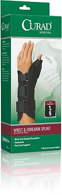 Curad® Wrist and Forearm Splints with Abducted Thumb, Small, Left Hand, 4/Pack