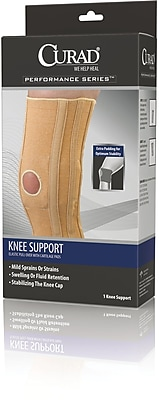 Curad® Knee Support with Cartilage Pad, Beige, Medium, Retail Packaging, 4/Pack