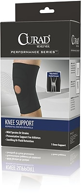 Curad® Open Patella Knee Supports, Black, Large, Each