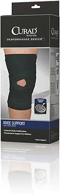 Curad® J-buttress Left Knee Support, Black, Large, Retail Packaging, 4/Pack