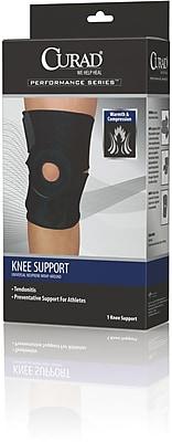Curad® Wrap-around Knee Support, Black, Universal, 4/Pack