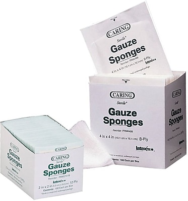 Caring® Woven Sterile Gauze Sponges, 3