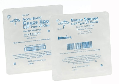 Medline Woven Sterile Gauze Sponges, 8