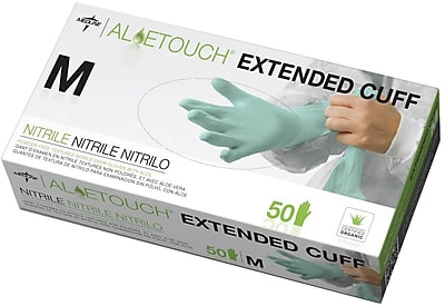 Aloetouch® Extended Cuff Chemo Nitrile Exam Gloves, Green, Small, 12