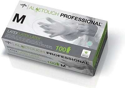 Aloetouch® Powder-free Latex Exam Gloves, Green, Small, 9