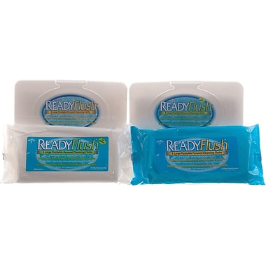 ReadyFlush Flushable Wet Wipes, 13'' L x 9'' W, Fragrance, Tub Container, 9/Pack