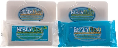 ReadyFlush Flushable Wet Wipes, 13'' L x 9'' W, Fragrance, Soft Pack Container, 24/Pack