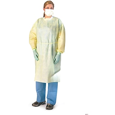 Medline Regular/Large Lightweight Fluid-Resistant Isolation Gowns, Yellow (NON275670)