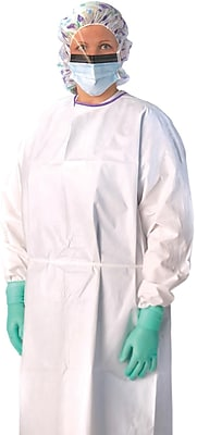 Medline Regular/Large Breathable Laminate AAMI Level 3 Isolation Gowns, White (NONLV350)