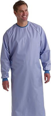 Blockade® Surgeons Gown, Ceil Blue, XL, Snap Neck and Tie Back, Dozen