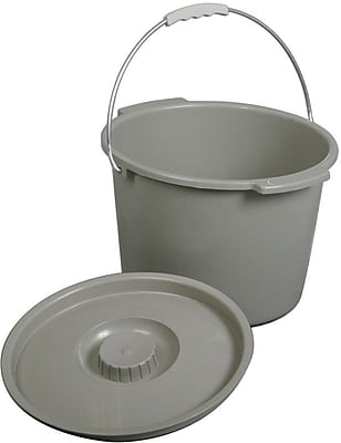 Medline Commode Buckets with Lid and Handles, 6/Pack