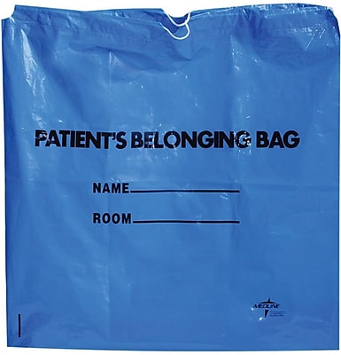 Medline Drawstring Patient Belonging Bags, White, 250/Pack