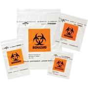 "Medline Zip-Style Biohazard Specimen Bags, 9"" L x 6"" W, 100/Pack"