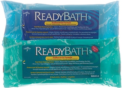 ReadyBath® Premium Antibacterial Washcloths, Fragrance free, 24/Pack