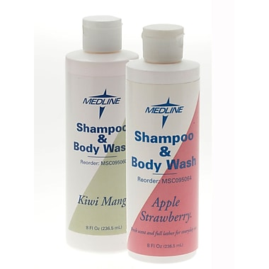 Medline Kiwi Mango Fragranced Shampoo and Body Wash, 8 oz, 48/Pack, Flip Top Bottle