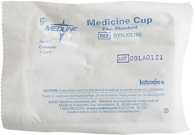 Medline Sterile Graduated Plastic Medicine Cups, 2 oz, 100/Pack 110334