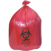 "Medline Biohazard Liners, 45 gal, 40"" L x 46"" W, Red, 100/Pack"