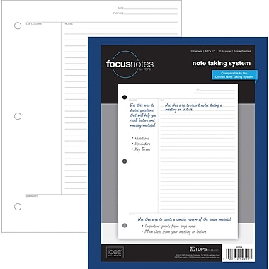 TOPS FocusNotes™ Filler Paper, Project Ruled, 8-1/2