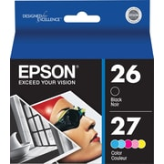 Epson Ink Cartridges, T026/T027 (T026201/T027201), Black/Color Combo Pack, 2/Pk