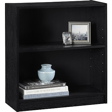 Hayden 2-Shelf Laminate Bookcase, Midnight Onyx