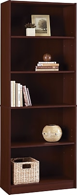 Hayden 5-Shelf Laminate Bookcase, Hilton Cherry