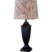 """Kenroy Bauer Table Lamp w/ Black Finish & 15"""" French Print Drum Shade"""