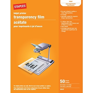 StaplesR Universal Quick Dry Color And Black Ink Jet Transparency Sheets Without Sensing Stripe