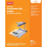 "Staples® Universal Quick Dry Color and Black Ink Jet Transparency Sheets Without Sensing Stripe, 50 Sheets, 8.5"" x 11"""
