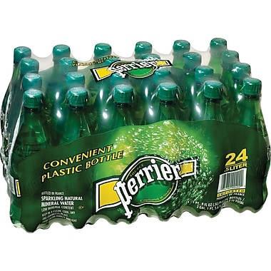 PERRIER Sparkling Natural Mineral Water, 16.9oz Plastic Bottle, 24/Pack