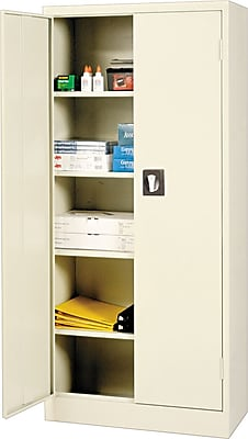 Alera® Space Saver Storage Cabinet with Fixed Shelves, Putty, 66