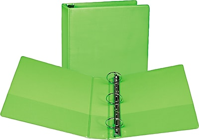 "Samsill Fashion Color Durable 3 Ring View Binders, 2"" Round Ring, Customizable Clear View Cover, Lime Green, 2/Pk (SAMU86678)"