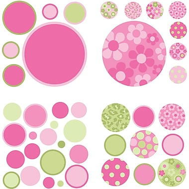 WALL POPS!MD – Mini autocollants muraux, Gone Dotty rose et vert, 54 autocollants