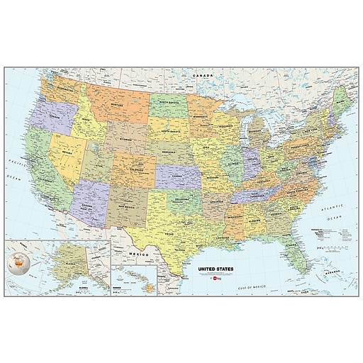 Wallpops Usa 24 X 36 Film Dry Erase Map Wpe99073 S Staples - Staples-us-map