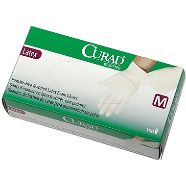 Curad® Powder-free Latex Exam Gloves, Beige, XL, 9