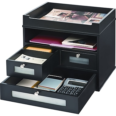Victor wood tidy tower organizer midnight black staples for Construction organizer notebook