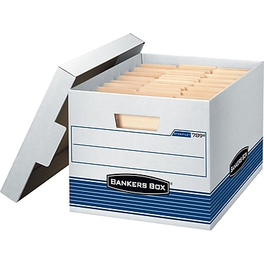 BANKERS BOX STOR/FILE™ Medium-Duty Storage Boxes, Letter/Legal, Stacking Strength 550 lb., White/Blue, 10