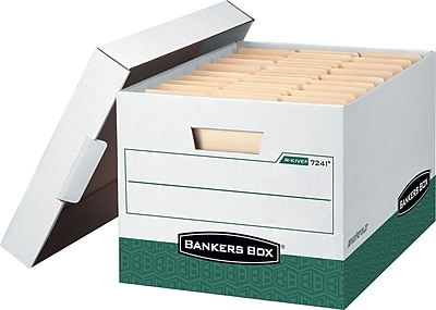 Bankers Box R-Kive® Heavy Duty Storage Boxes, White/Green, 12/Pack