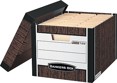 BANKERS BOX® R-Kive®725™ Heavy-Duty Storage Box Woodgrain, Letter/Legal Size, 12/PK (00725)