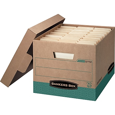 BANKERS BOX® R-Kive Medium-Duty 100% Recycled Storage Boxes, Letter/Legal Size, 12/Pack