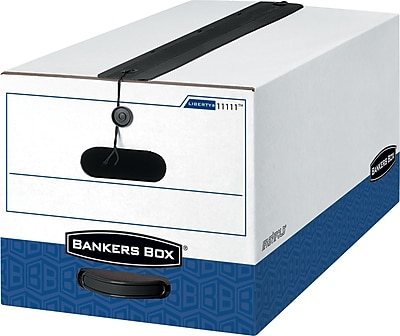 Bankers Box Liberty Plus Heavy-Duty FastFold Storage Boxes with String & Button, Letter, 4/Ct (1111101)