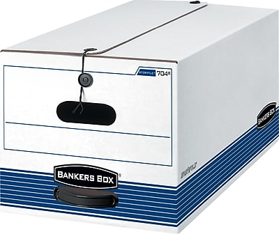 Bankers Box Stor/File Medium-Duty FastFold Storage Boxes with String & Button, Letter, 4/Ct (0070403)