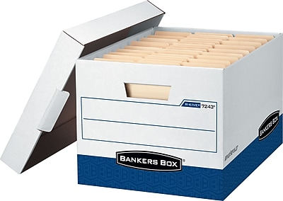 Bankers Box R-Kive Heavy-Duty FastFold Storage Boxes with Lift-Off Lid, Letter/Legal, White/Blue, 12/Ct (07243)