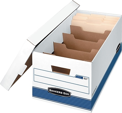 Bankers Box Dividerbox Medium-Duty FastFold Storage Boxes with Lift-Off Lid, Letter, 12/Ct (0083103)
