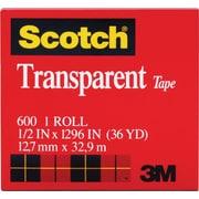 "Scotch® Transparent Tape 600, 1/2"" x 36 yds, 1"" Core"