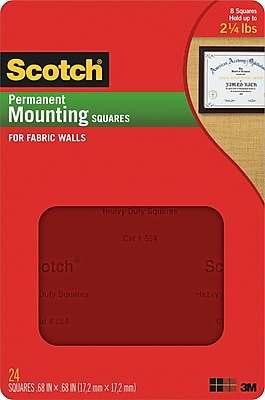 Scotch® Fabric Wall Mounting Squares, .68
