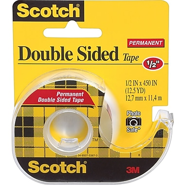 Scotch® Double Sided Permanent Tape with Dispenser, 1/2