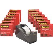 "Scotch Transparent Tape with C60 Desktop Dispenser, Engineered for Office and Home Use, Glossy, 3/4"" x 27.77 yds., 12 Rolls"