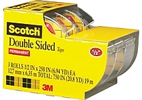 Scotch® Double Sided Tape, 1/2' x 250', 1' Core, 3/pack (3136)
